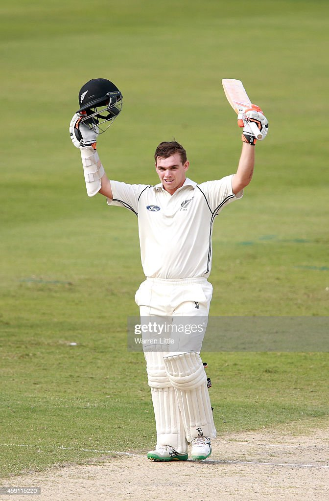 <a gi-track='captionPersonalityLinkClicked' href=/galleries/search?phrase=Tom+Latham+-+Cricket+Player&family=editorial&specificpeople=13719242 ng-click='$event.stopPropagation()'>Tom Latham</a> of New Zealand celebrates reaching his century during day one of the second test between Pakistan and New Zealand at Dubai International Stadium on November 17, 2014 in Dubai, United Arab Emirates.