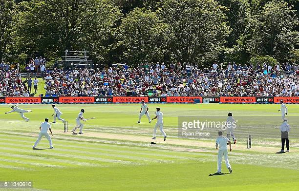 Tom Latham of New Zealand edges and is caught by Steve Smith of Australia off the bowling of Jackson Bird of Australia during day one of the Test...
