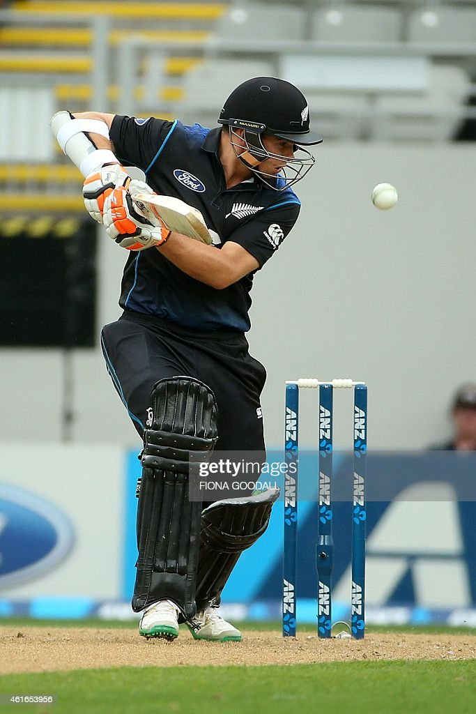 <a gi-track='captionPersonalityLinkClicked' href=/galleries/search?phrase=Tom+Latham+-+Cricket+Player&family=editorial&specificpeople=13719242 ng-click='$event.stopPropagation()'>Tom Latham</a> of New Zealand hits the ball during the third one-day international cricket match between New Zealand and Sri Lanka in Auckland on January 17, 2015. AFP PHOTO / Fiona Goodall