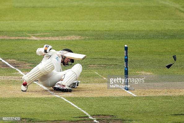 Tom Latham of New Zealand is hit on the helmet during day two of the Second Test match between New Zealand and Bangladesh at Hagley Oval on January...
