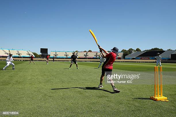 Tom Latham of the Blackcaps participates with children from local schools during an ICC coaching clinic at Hagley Oval on February 12 2015 in...