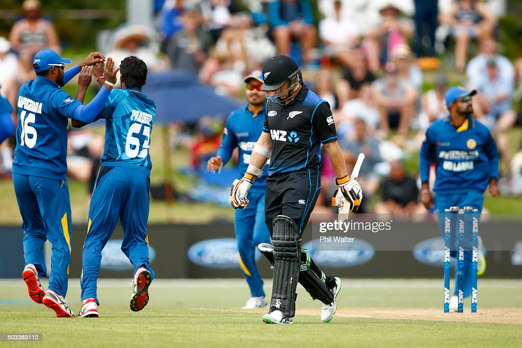 Tom Lathan of New Zealand leaves the field after being dismissed off the bowling of Nuwan Pradeep of Sri Lanka during game five of the One Day International series between New Zealand and Sri Lanka at Bay Oval on January 5, 2016 in Mount Maunganui, New Zealand.