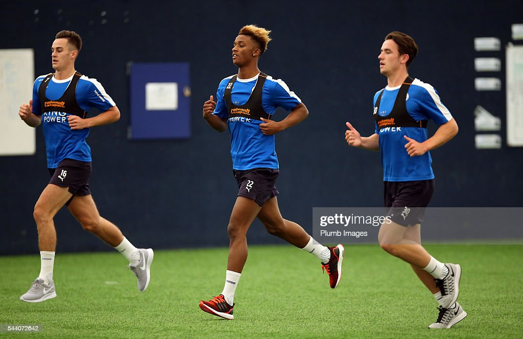 Tom Lawrence, <a gi-track='captionPersonalityLinkClicked' href=/galleries/search?phrase=Demarai+Gray&family=editorial&specificpeople=10515774 ng-click='$event.stopPropagation()'>Demarai Gray</a> and <a gi-track='captionPersonalityLinkClicked' href=/galleries/search?phrase=Ben+Chilwell&family=editorial&specificpeople=12483302 ng-click='$event.stopPropagation()'>Ben Chilwell</a> during the testing session as the first set of Leicester City Players return for pre-season at Belvoir Drive Training Complex on July 1, 2016 in Leicester, United Kingdom.