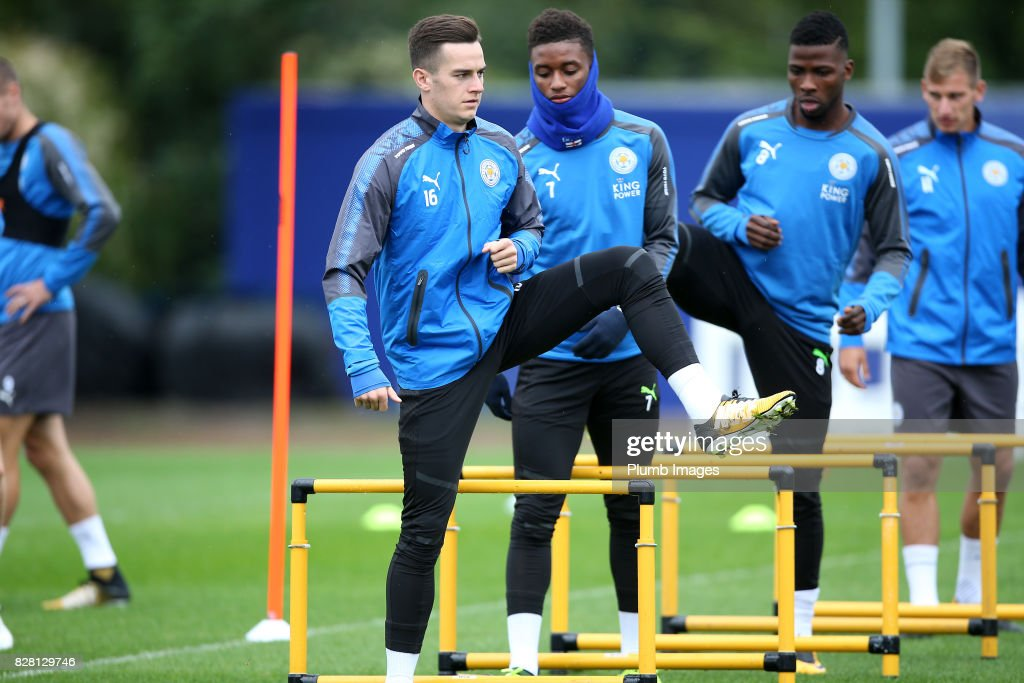 Tom Lawrence during the Leicester City training session at Belvoir Drive Training Complex on August 09 , 2017 in Leicester, United Kingdom.