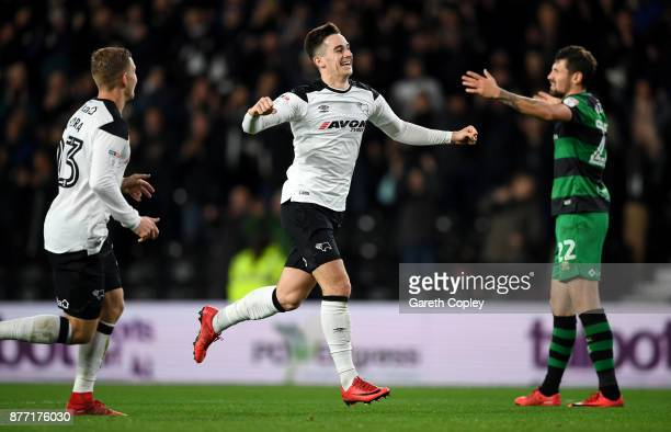 Tom Lawrence of Derby celebrates scoring his team's second goal during the Sky Bet Championship match between Derby County and Queens Park Rangers at...
