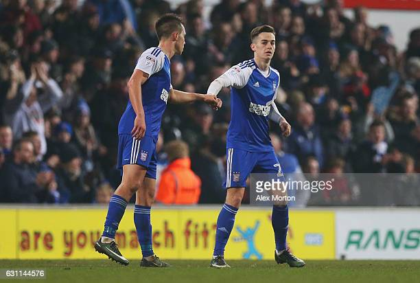 Tom Lawrence of Ipswich Town celebrates after scoring his sides second goal during the Emirates FA Cup third round match between Ipswich Town and...