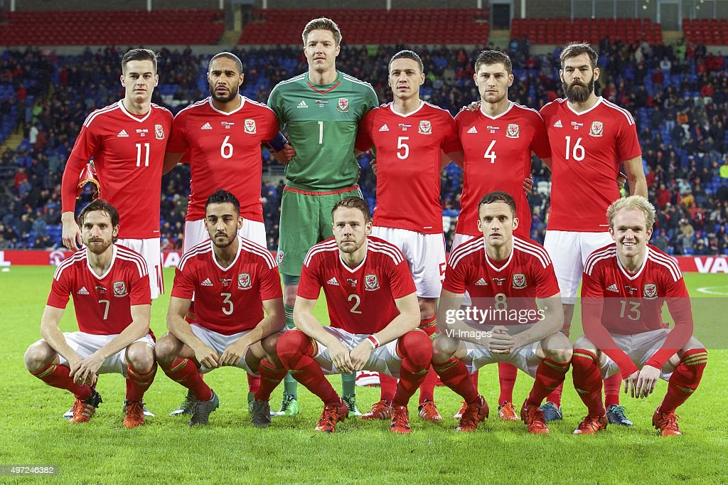 Tom Lawrence of Wales, <a gi-track='captionPersonalityLinkClicked' href=/galleries/search?phrase=Ashley+Williams+-+Soccer+Player&family=editorial&specificpeople=13495389 ng-click='$event.stopPropagation()'>Ashley Williams</a> of Wales, goalkeeper <a gi-track='captionPersonalityLinkClicked' href=/galleries/search?phrase=Wayne+Hennessey&family=editorial&specificpeople=4304710 ng-click='$event.stopPropagation()'>Wayne Hennessey</a> of Wales, <a gi-track='captionPersonalityLinkClicked' href=/galleries/search?phrase=James+Chester&family=editorial&specificpeople=4192570 ng-click='$event.stopPropagation()'>James Chester</a> of Wales, <a gi-track='captionPersonalityLinkClicked' href=/galleries/search?phrase=Ben+Davies+-+Soccer+Player+-+Born+1993&family=editorial&specificpeople=13494398 ng-click='$event.stopPropagation()'>Ben Davies</a> of Wales, <a gi-track='captionPersonalityLinkClicked' href=/galleries/search?phrase=Joe+Ledley&family=editorial&specificpeople=687410 ng-click='$event.stopPropagation()'>Joe Ledley</a> of Wales <a gi-track='captionPersonalityLinkClicked' href=/galleries/search?phrase=Joe+Allen+-+Welsh+Soccer+Player&family=editorial&specificpeople=9629091 ng-click='$event.stopPropagation()'>Joe Allen</a> of Wales, Neil Taylor of Wales, Chris Gunter of Wales, <a gi-track='captionPersonalityLinkClicked' href=/galleries/search?phrase=Andy+King+-+Soccer+Player+-+Born+1988&family=editorial&specificpeople=14622523 ng-click='$event.stopPropagation()'>Andy King</a> of Wales, Jonathan Williams of Wales during the International friendly match between Wales and Netherlands on November 13, 2015 at the Cardiff City stadium in Cardiff, Wales.