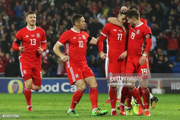 Tom Lawrence of Wales celebrates scoring his sides first goal of the match during the International Friendly match between Wales and Panama at The...