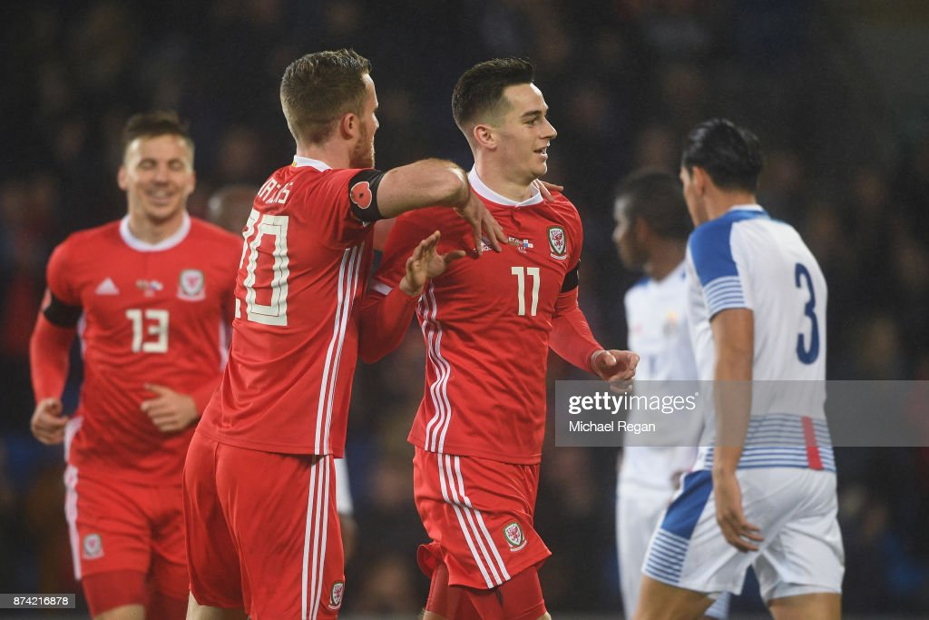 Tom Lawrence of Wales celebrates scoring to make it 1-0 during the International match between Wales and Panama at Cardiff City Stadium on November 14, 2017 in Cardiff, Wales.