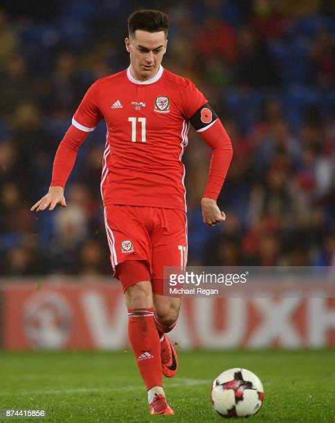 Tom Lawrence of Wales in action during the International match between Wales and Panama at Cardiff City Stadium on November 14 2017 in Cardiff Wales