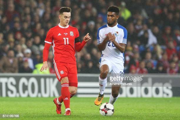 Tom Lawrence of Wales is challenged by Ricardo Avila of Panama during the International Friendly match between Wales and Panama at The Cardiff City...