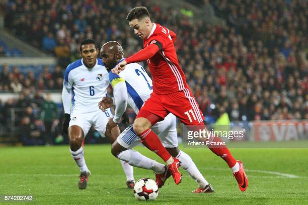 Tom Lawrence of Wales is marked by Felipe Baloy of Panama during the International Friendly match between Wales and Panama at The Cardiff City...