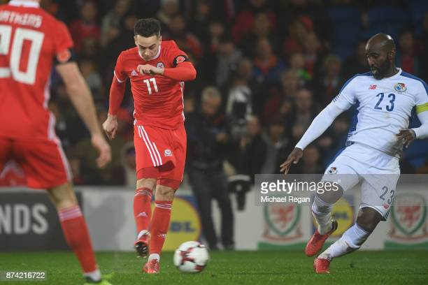 Tom Lawrence of Wales scores to make it 10 during the International match between Wales and Panama at Cardiff City Stadium on November 14 2017 in...