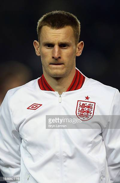 Tom Lees of England stands for the national athems ahead during the International Friendly match between England U21 and Austria U21 at Amex Stadium...