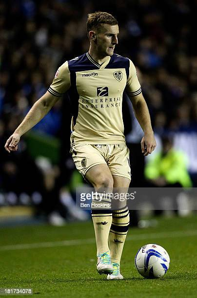 Tom Lees of Leeds in action during the Sky Bet Championship match between Reading and Leeds United at Madejski Stadium on September 18 2013 in...