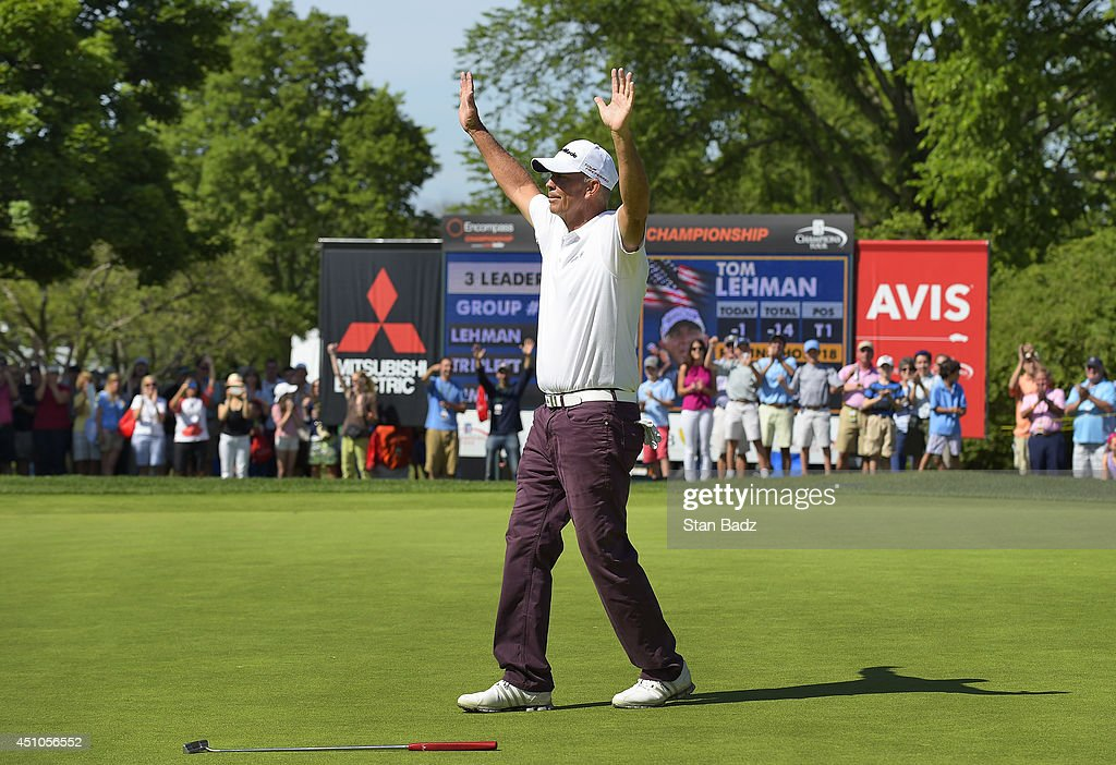 Tom Lehman celebrates his win on the 18th hole of the Champions Tour's Encompass Championship at North Shore Country Club on June 22 2014 in Glenview...