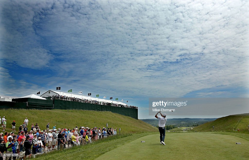 Tom Lehman hits his tee shot on the second hole during the third round of the 2015 Senior PGA Championship Presented By KitchenAid at the Pete Dye...