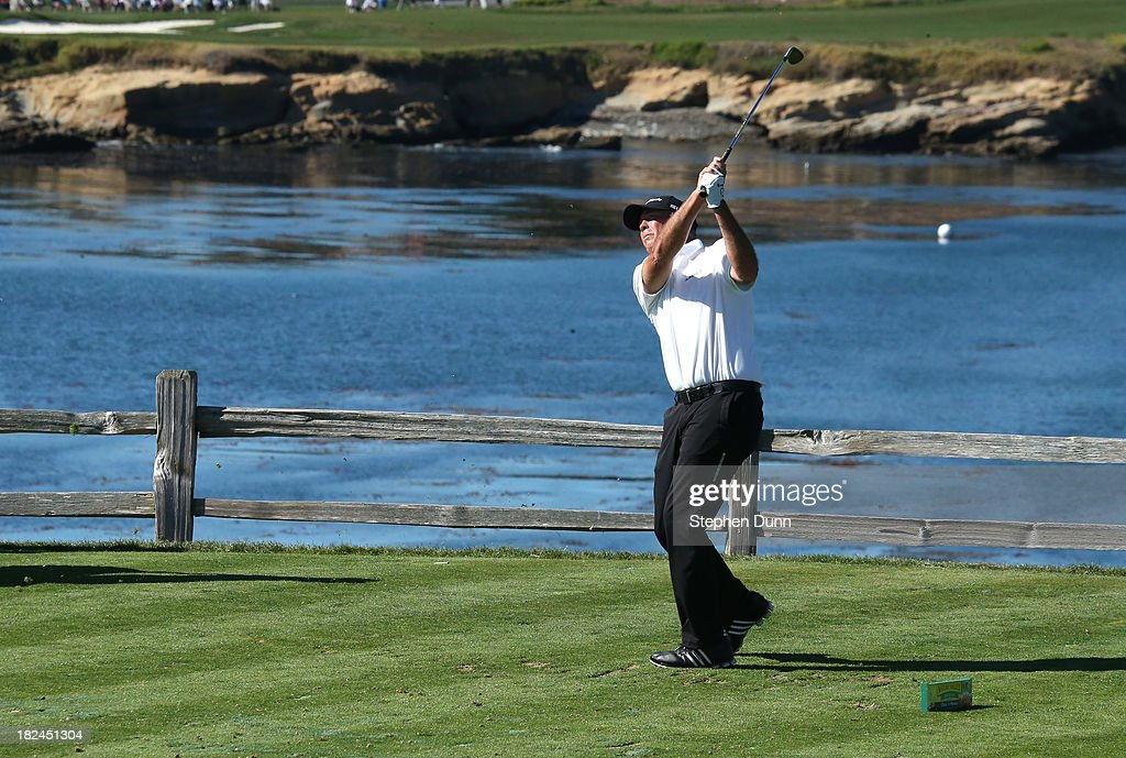 Tom Lehman hits his tee shot on the seventh hole durng the final round of the Nature Valley First Tee Open at Pebble Beach at Pebble Beach Golf Links on September 29, 2013 in Pebble Beach, California.