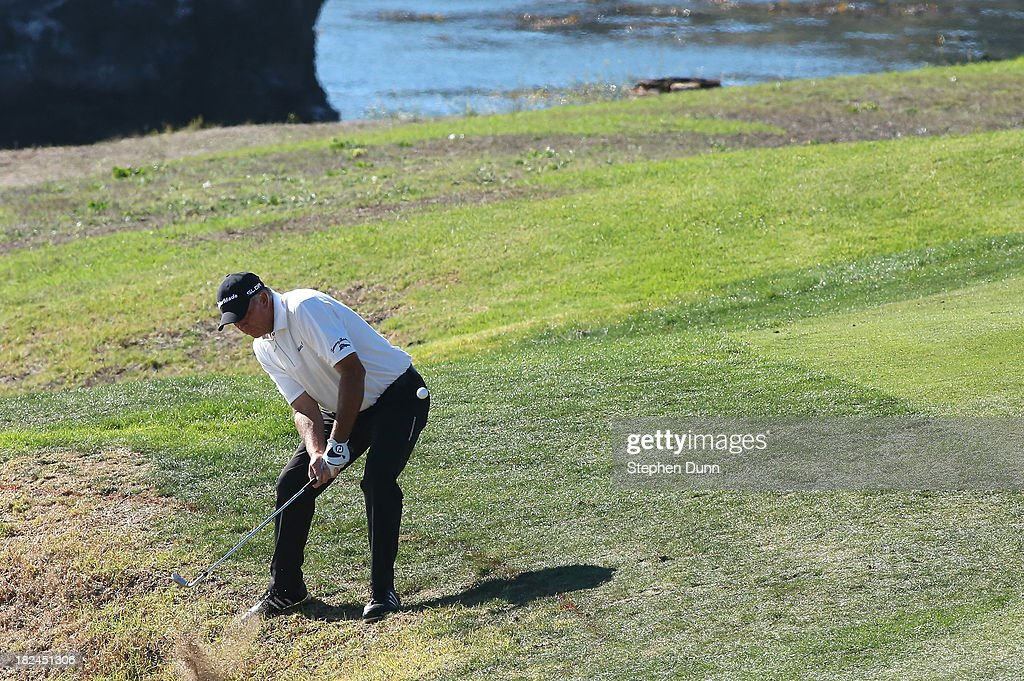 Tom Lehman lays up out of trouble on the ninth hole durng the final round of the Nature Valley First Tee Open at Pebble Beach at Pebble Beach Golf Links on September 29, 2013 in Pebble Beach, California.