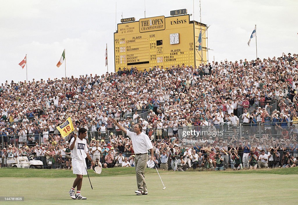 Tom Lehman of the United States and his caddy Andy Martinez celebrate after winning the 125th Open Championship on 21st July 1996 at the Royal Lytham...