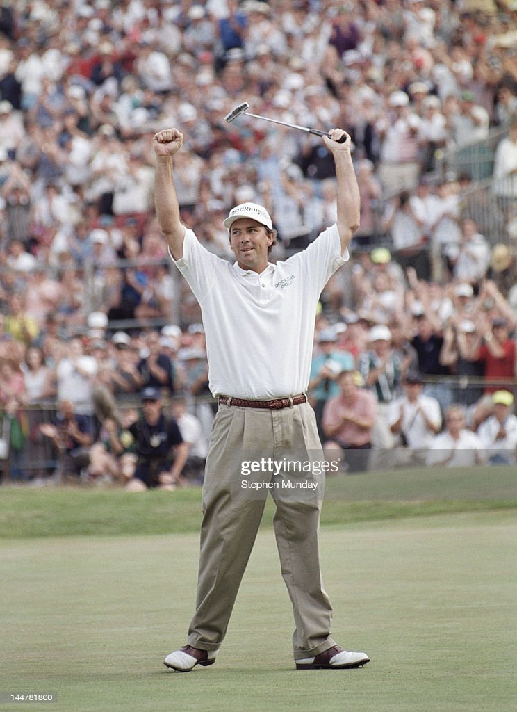 Tom Lehman of the United States celebrates after winning the 125th Open Championship on 21st July 1996 at the Royal Lytham and St Annes Golf Club in...