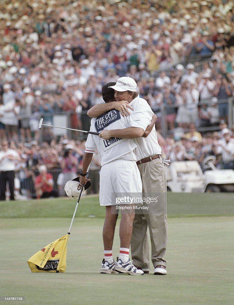 Tom Lehman of the United States hugs his caddy Andy Martinez after winning the 125th Open Championship on 21st July 1996 at the Royal Lytham and St...
