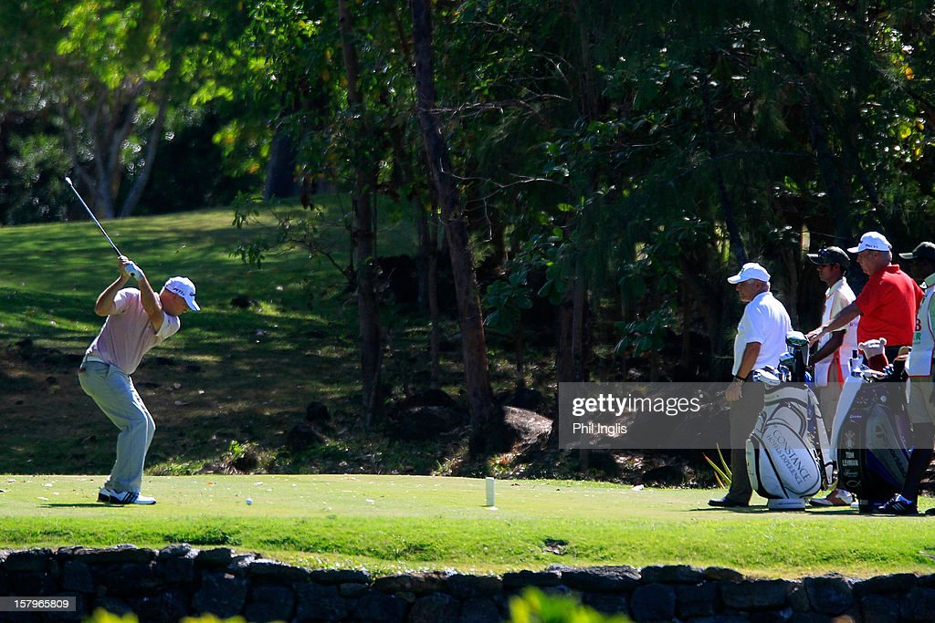 <a gi-track='captionPersonalityLinkClicked' href=/galleries/search?phrase=Tom+Lehman&family=editorial&specificpeople=184539 ng-click='$event.stopPropagation()'>Tom Lehman</a> of the United States plays from the 5th tee during the second round of the MCB Tour Championship played at the Legends Course, Constance Belle Mare Plage on December 8, 2012 in Poste de Flacq, Mauritius.
