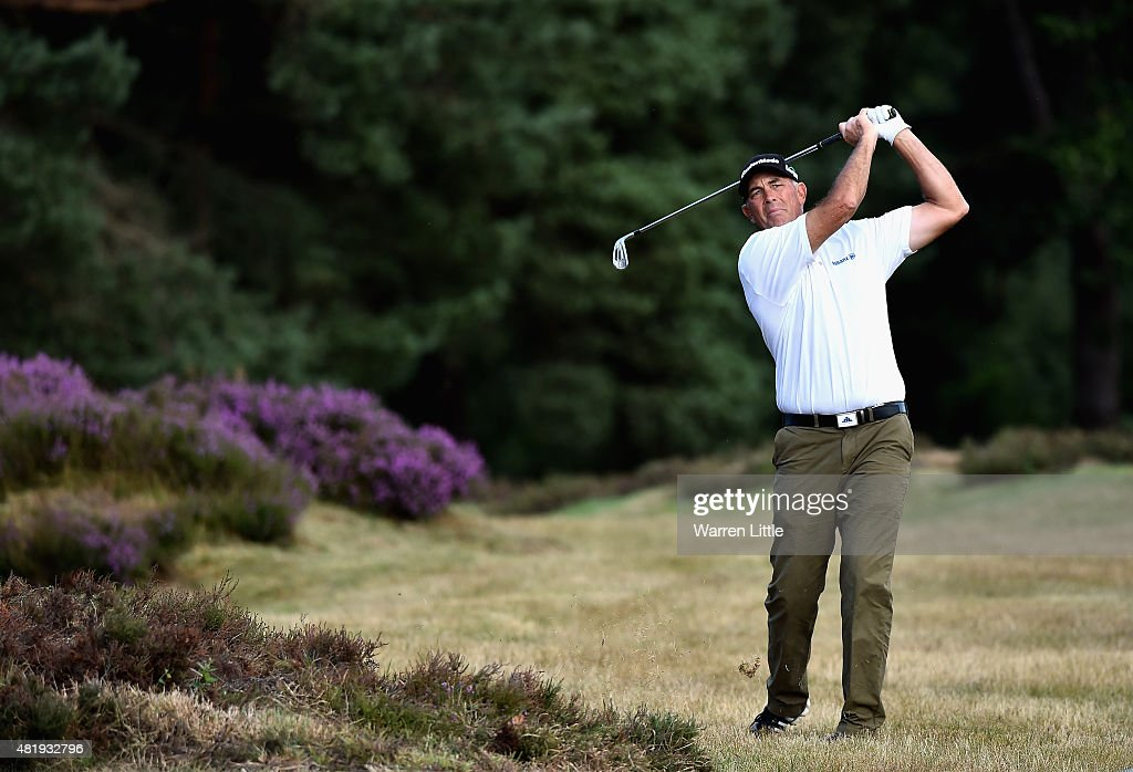 Tom Lehman of the USA plays his second shot into the second green during the third round of The Senior Open Championship on the Old Course at...