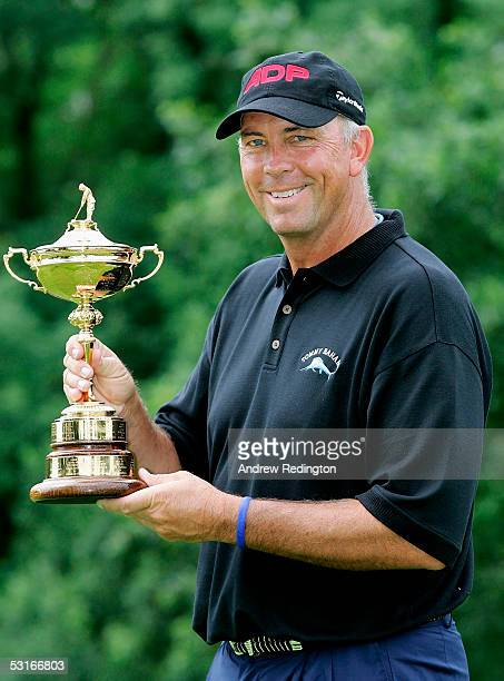 Tom Lehman of the USA poses with the Ryder Cup trophy at The Smurfit European Open on The Palmer Course at The K Club on June 29 2005 in Straffan...
