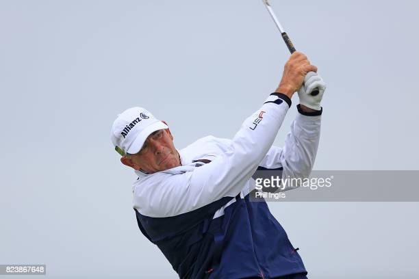 Tom Lehman of United States in action during the second round of the Senior Open Championship presented by Rolex at Royal Porthcawl Golf Club on July...