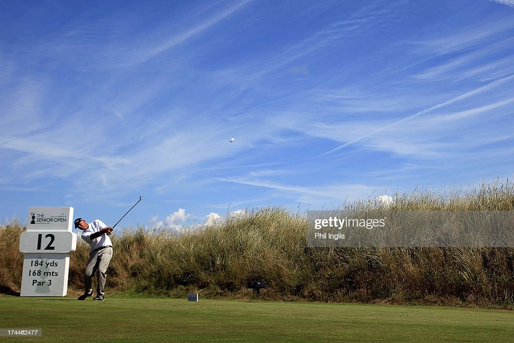 <a gi-track='captionPersonalityLinkClicked' href=/galleries/search?phrase=Tom+Lehman&family=editorial&specificpeople=184539 ng-click='$event.stopPropagation()'>Tom Lehman</a> of USA hits a shot from the 12th tee during the second round of The Senior Open Championship played at Royal Birkdale Golf Club on July 26, 2013 in Southport, United Kingdom.