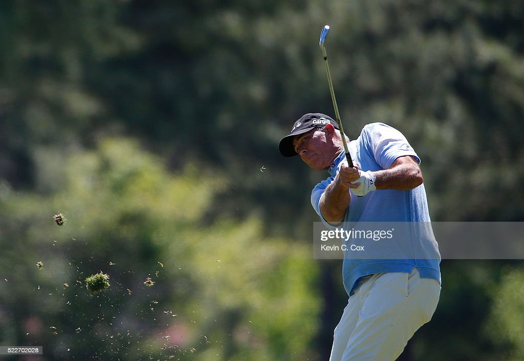 Tom Lehman plays his second shot on the first hole during the final round of the Mitsubishi Electric Classic at TPC Sugarloaf on April 17 2016 in...