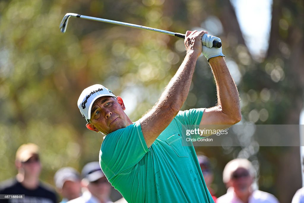 Tom Lehman tees off on the 12th hole during the second round of the Champions Tour Tucson Conquistadores Classic at Omni Tucson National on March 21...