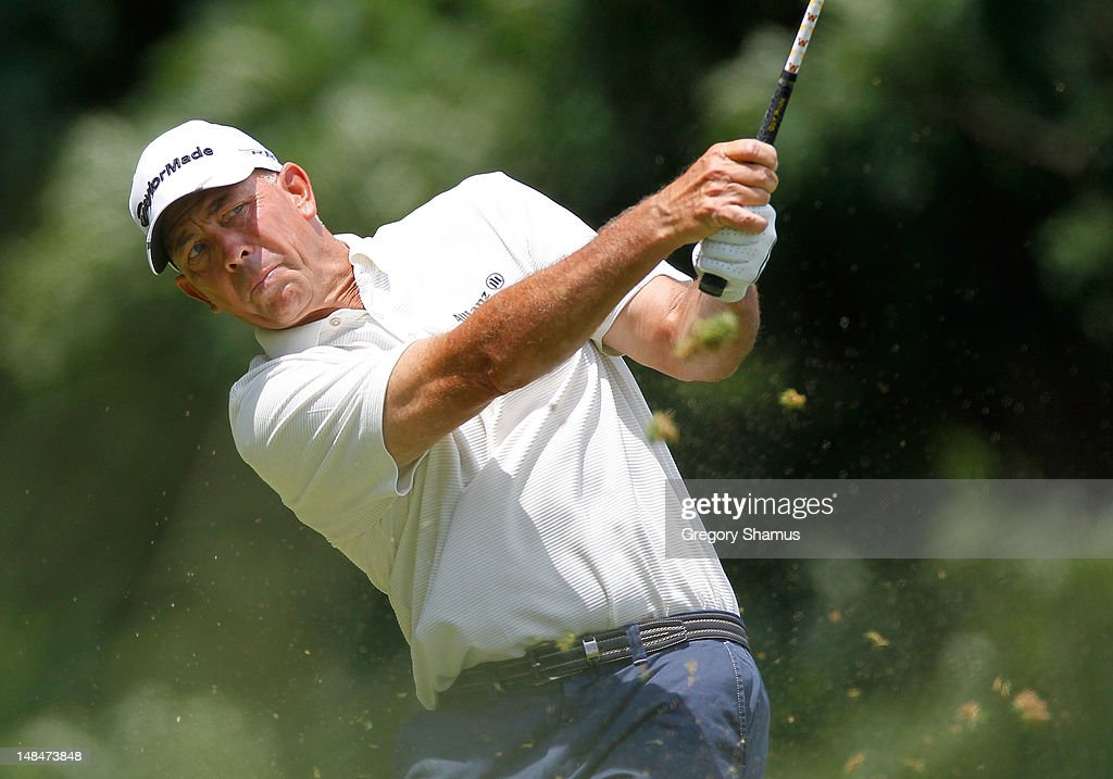 <a gi-track='captionPersonalityLinkClicked' href=/galleries/search?phrase=Tom+Lehman&family=editorial&specificpeople=184539 ng-click='$event.stopPropagation()'>Tom Lehman</a> tees off on the third hole during the third round of the 2012 Senior United States Open at Indianwood Golf and Country Club on July 14, 2012 in Lake Orion, Michigan.