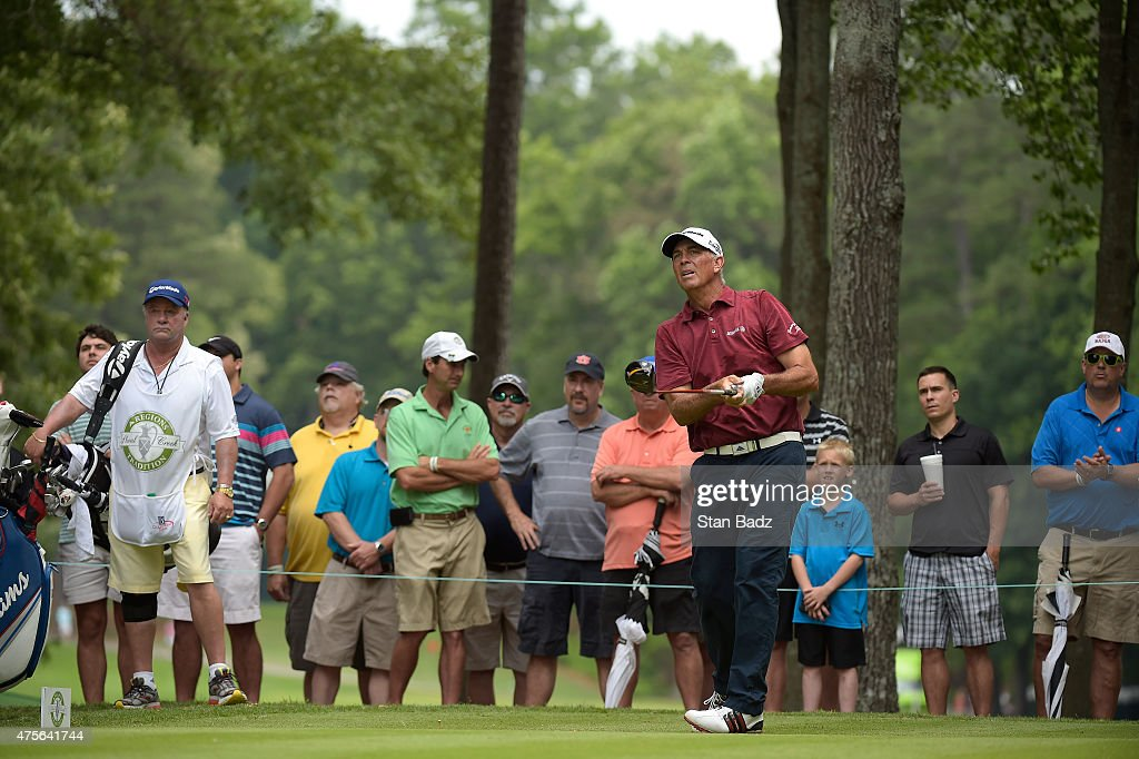 Tom Lehman watches his drive during the final round of the Champions Tour Regions Tradition at Shoal Creek on May 17 2015 in Shoal Creek Alabama