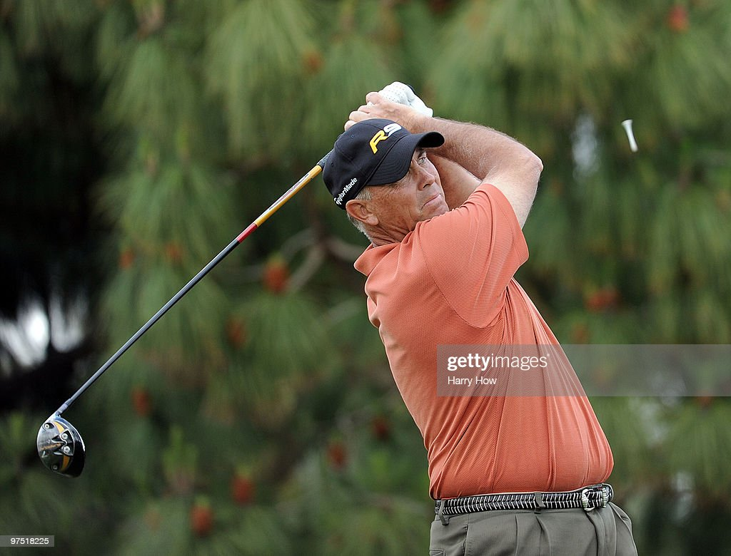 Tom Lehman watches his tee shot on the 18th hole during the third round of the Toshiba Classic at the Newport Beach Country Club on March 7, 2010 in Newport Beach, California.
