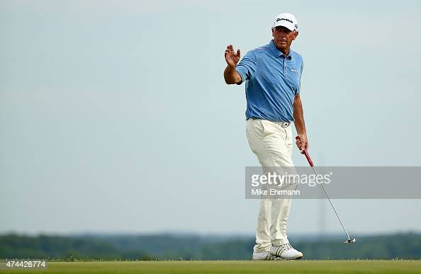 Tom Lehman waves after a birdie on the sixth hole during the second round of the Senior PGA Championship Presented By KitchenAid at the Pete Dye...