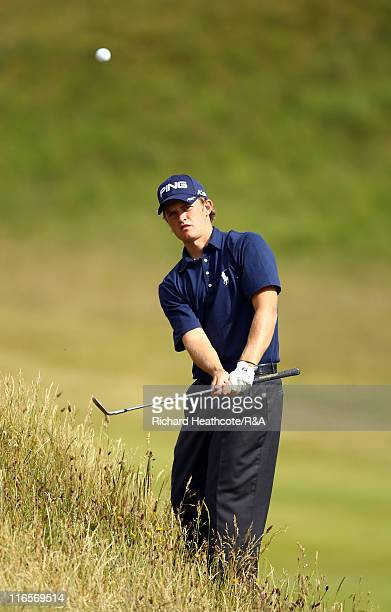 Tom Lewis in action during his 4th round match against Andy Sullivan at The Amateur Championship 2011 at Hillside Golf Club on June 16 2011 in...