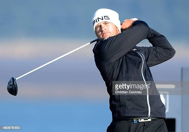 Tom Lewis of England drives off the 12th tee during the second round of the 2015 Alfred Dunhill Links Championship at The Old Course on October 2...