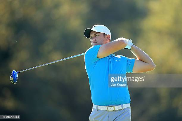 Tom Lewis of England in action during the fifth round of the European Tour qualifying school final stage at PGA Catalunya Resort on November 16 2016...