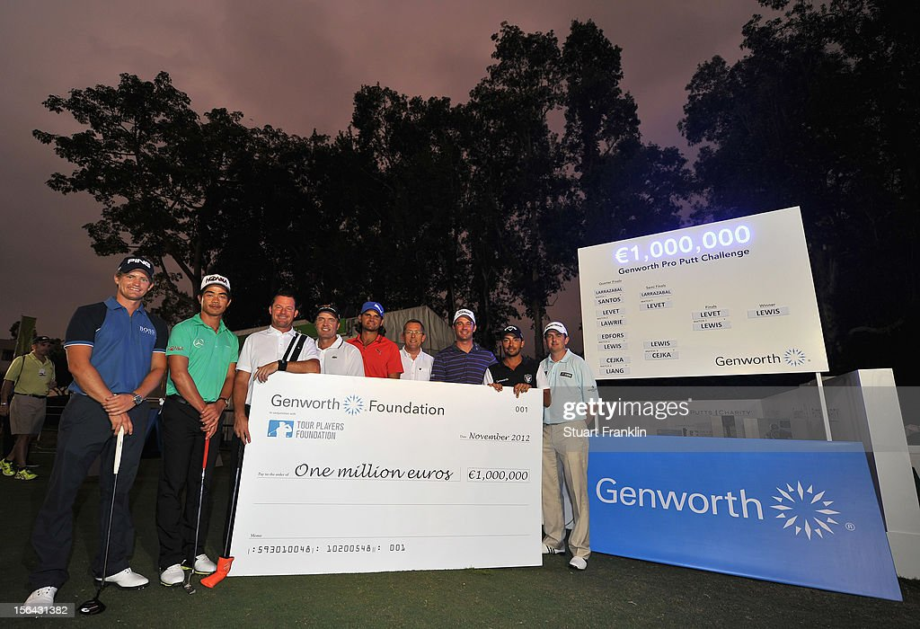 Tom Lewis of England, Liang Wenchong of China, Alex Cejka of Germany, Thomas Levet of France, Johan Edfors of Sweden Peter Barrett, MD of Genworth Financial, Ricardo Santos of Portugal, Pablo Larrazabal of Spain and Peter Lawrie of Ireland with a cheque for one million euros raised in the last six years at the Genworth pro putt challenge after the first round of the UBS Hong Kong open at The Hong Kong Golf Club on November 15, 2012 in Hong Kong, Hong Kong.