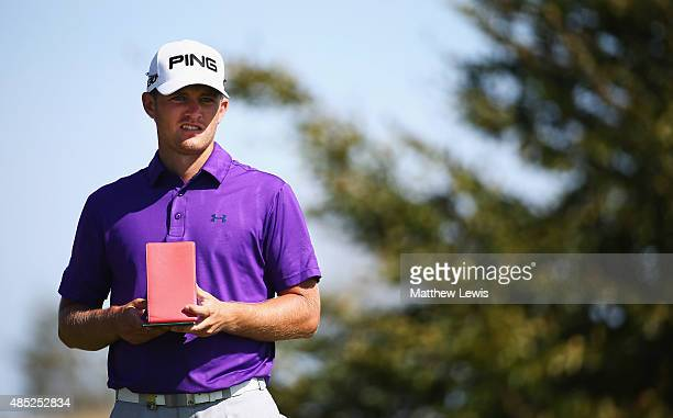 Tom Lewis of England looks on during a practice round ahead of the DD Real Czech Masters at Albatross Golf Resort on August 26 2015 in Prague Czech...