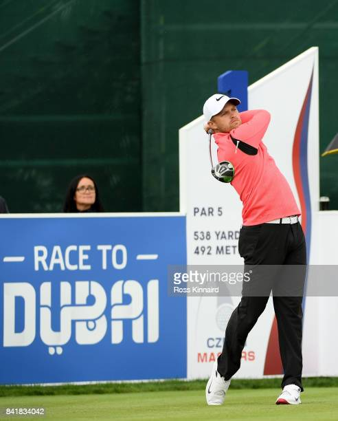 Tom Lewis of England on the first tee during the third round of the DD REAL Czech Masters at Albatross Golf Resort on September 2 2017 in Prague...