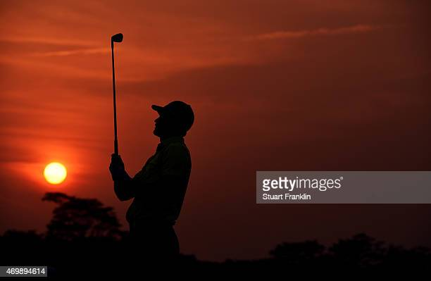 Tom Lewis of England plays a shot during the first round of the Shenzhen International at Genzon Golf Club on April 16 2015 in Shenzhen China