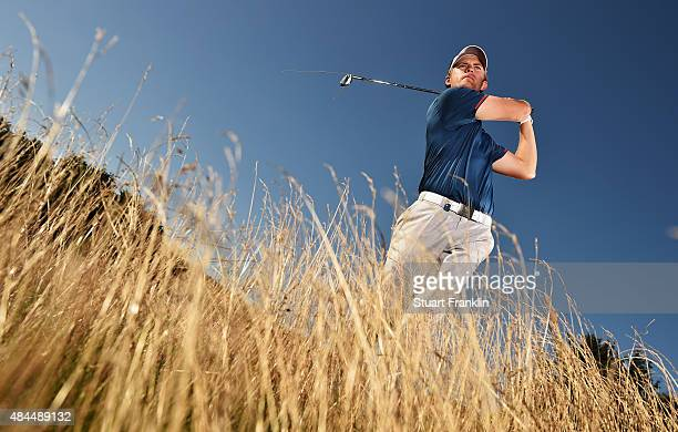 Tom Lewis of England plays a shot during the Pro Am prior to the start of the Made in Denmark golf at Himmerland Golf Spa Resort on August 19 2015 in...