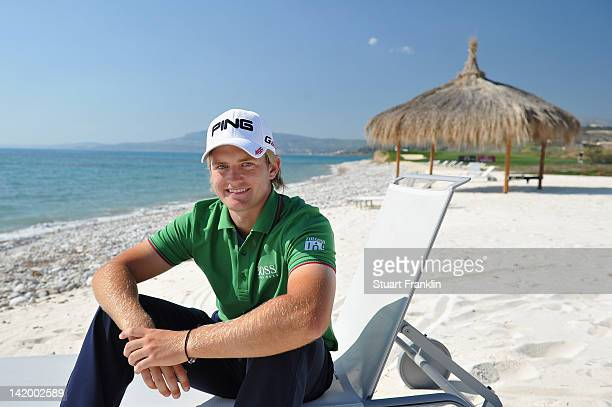 Tom Lewis of England takes a moment on the beach during the proam prior to the start of the Sicilian Open at Verdura Golf and Spa Resort on March 28...