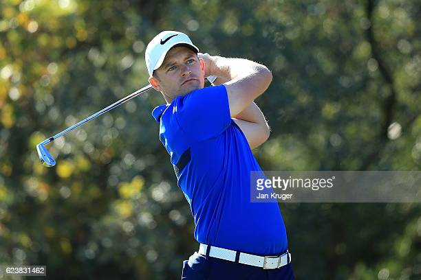 Tom Lewis of England tees off during the final round of the European Tour qualifying school final stage at PGA Catalunya Resort on November 17 2016...