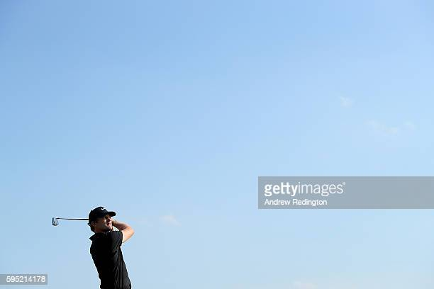 Tom Lewis of England tees off on the 16th hole during the first round of Made in Denmark at Himmerland Golf Spa Resort on August 25 2016 in Aalborg...