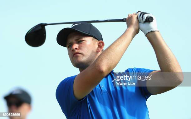 Tom Lewis of England tees off on the 3rd during day one of the 2017 Portugal Masters at Oceanico Victoria Golf Club on September 21 2017 in Albufeira...
