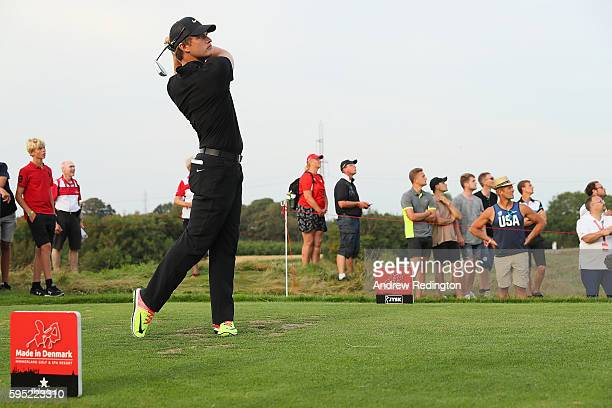 Tom Lewis of England tees off on the 7th hole during the first round of Made in Denmark at Himmerland Golf Spa Resort on August 25 2016 in Aalborg...